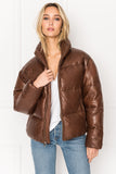 IRIS Cognac Leather Puffer Jacket