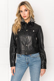 JOELLE Black Leather Jean Jacket with Removable Hood