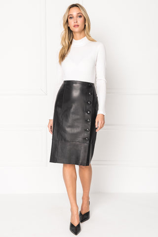 JOHNNA Buttoned Leather Midi Skirt