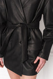 KAELYN Black Leather Blazer Dress