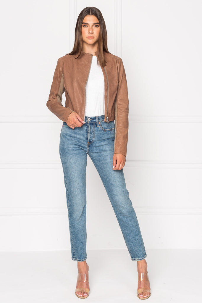 KAILA Camel Asymmetric Leather Jacket