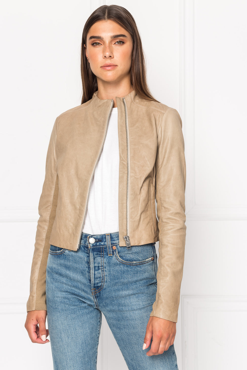 KAILA Bone Asymmetric Leather Jacket