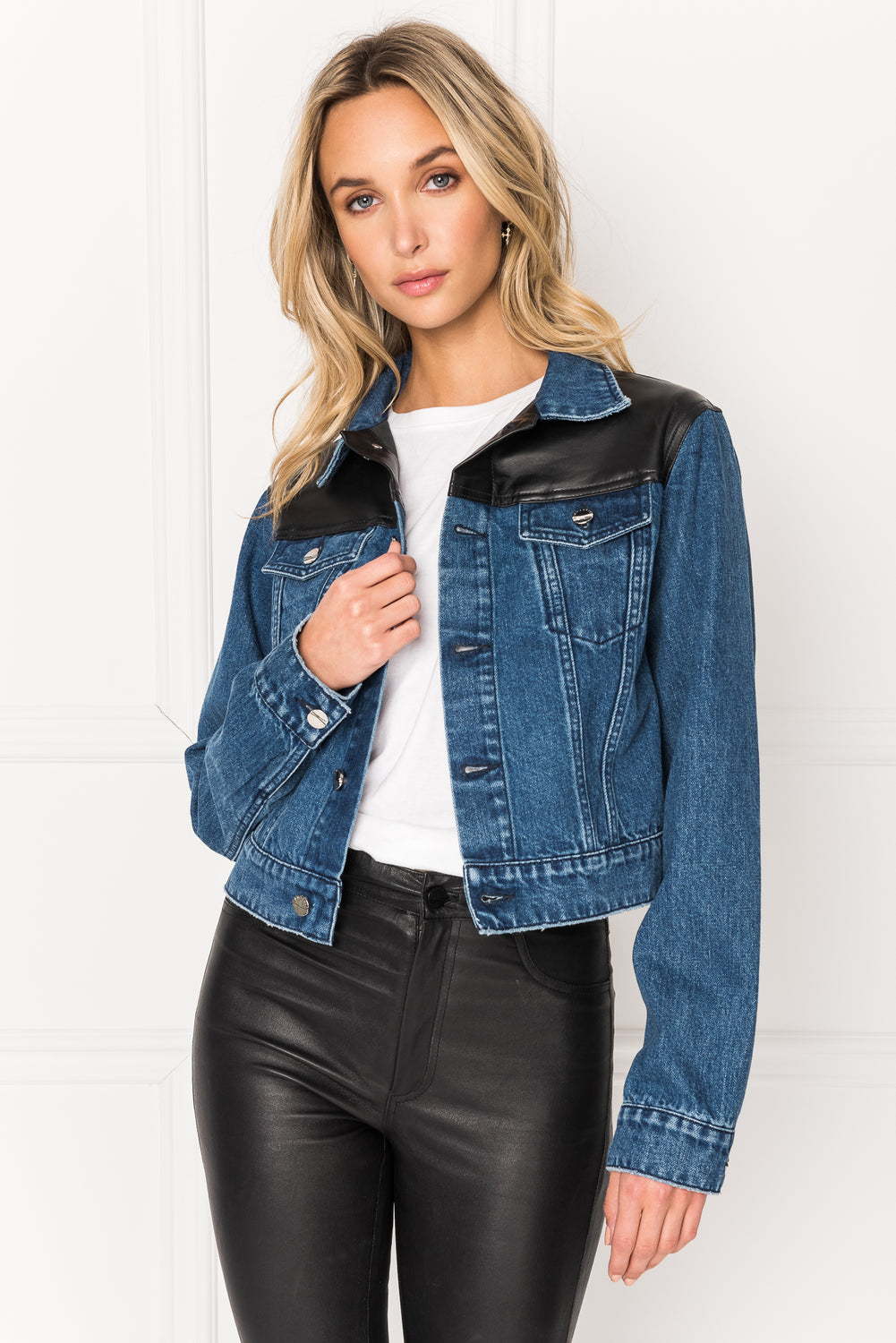 KARLY Blue & Black Leather Trimmed Jean Jacket