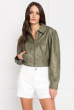 KARRY Vetiver Oversized Leather Jacket