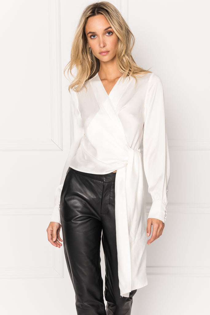 KHAI Cream Silk Self Tie Wrap Blouse