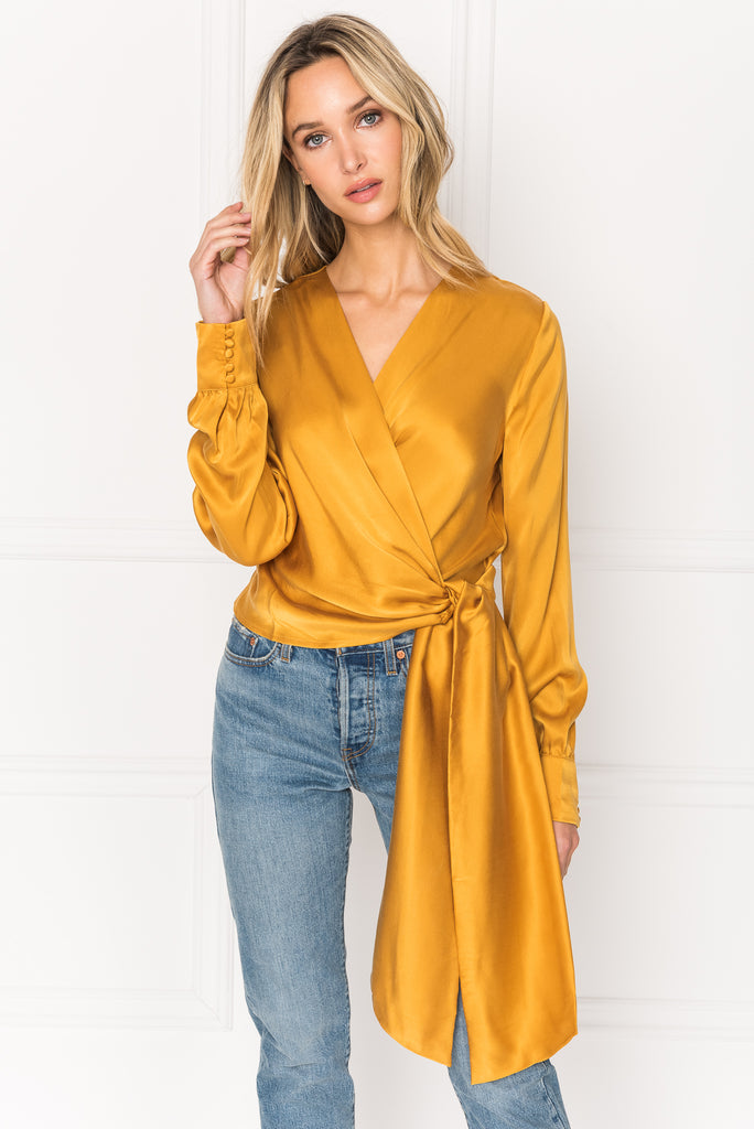 KHAI Golden Yellow Silk Self Tie Wrap Blouse