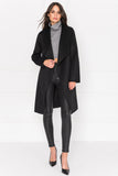 KIERA Black Cascade Collar Wool Coat