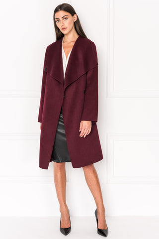 KIERA Burgundy Cascade Collar Wool Coat