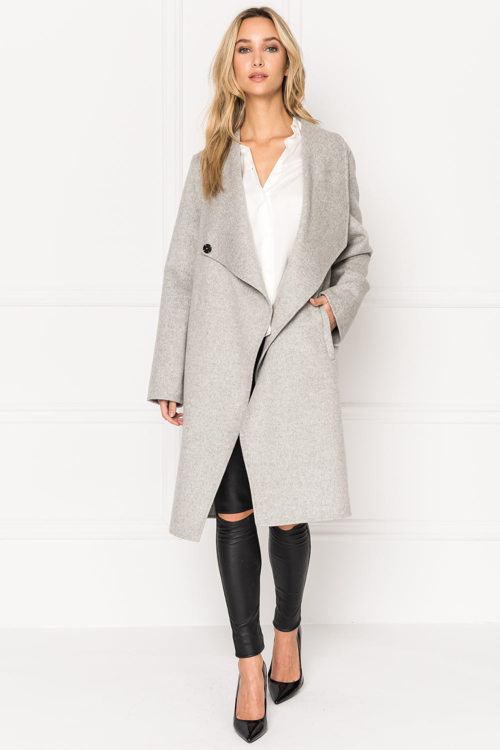 KIERA Cascade Collar Wool Coat