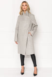 KIERA Light Grey Cascade Collar Wool Coat
