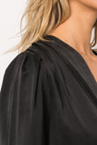KIMORA Black Silk Draped Blouse