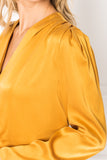 KIMORA Golden Yellow Silk Draped Blouse