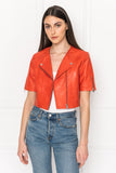 KIRSI Grenadine Crop Biker Jacket