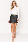 KISSA Quilted Belted Leather Mini Skirt