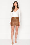 KISSA Quilted Leather Mini Skirt
