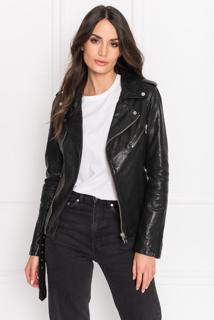 KIYOSHI Black Washed Leather Belted Biker Jacket