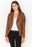 KIYOSHI Brown Washed Leather Belted Biker Jacket