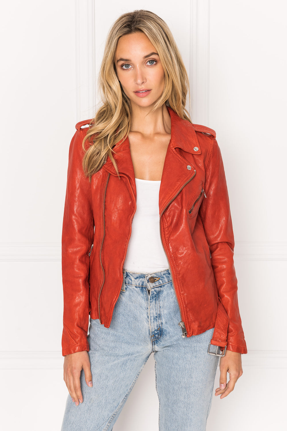 KIYOSHI Sienna Washed Leather Belted Biker Jacket