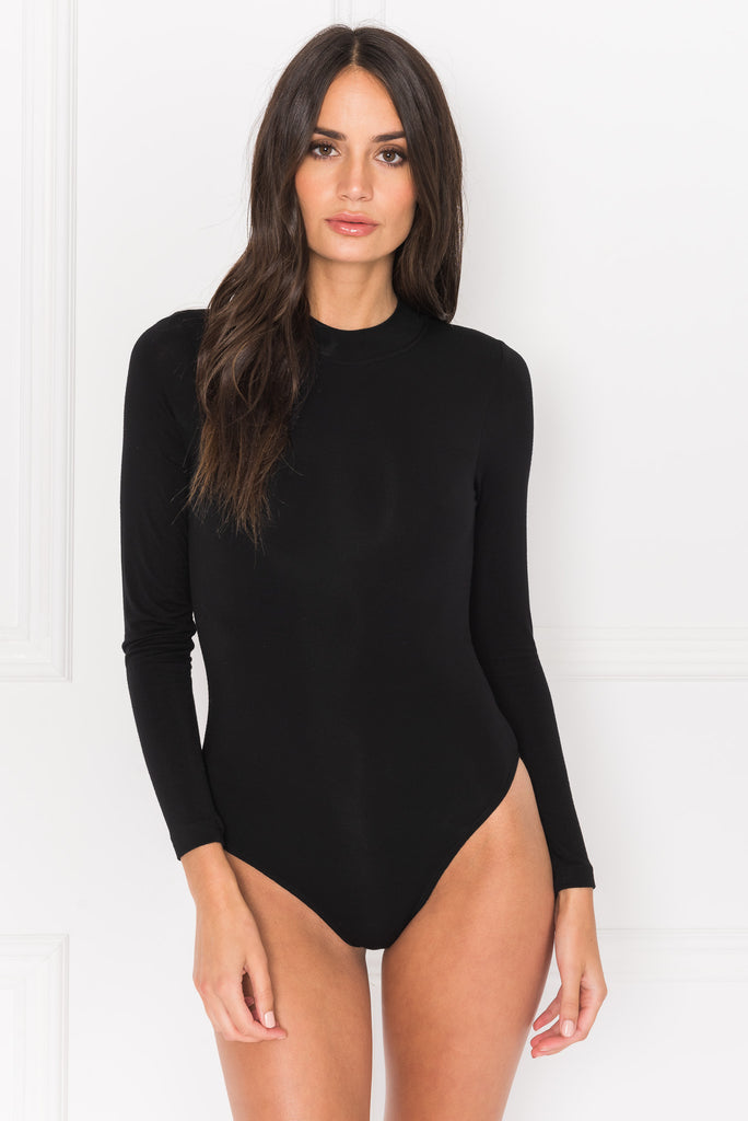 LEROLA Black Backless Bodysuit