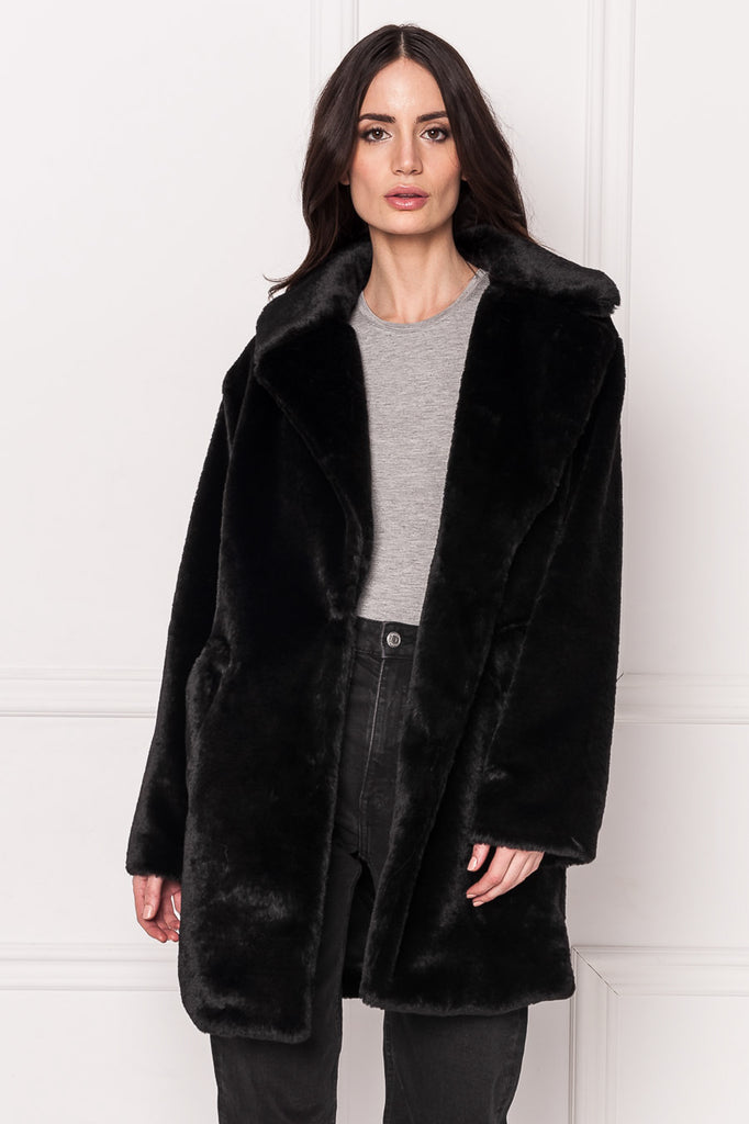 LINNEA Black Faux Fur Coat
