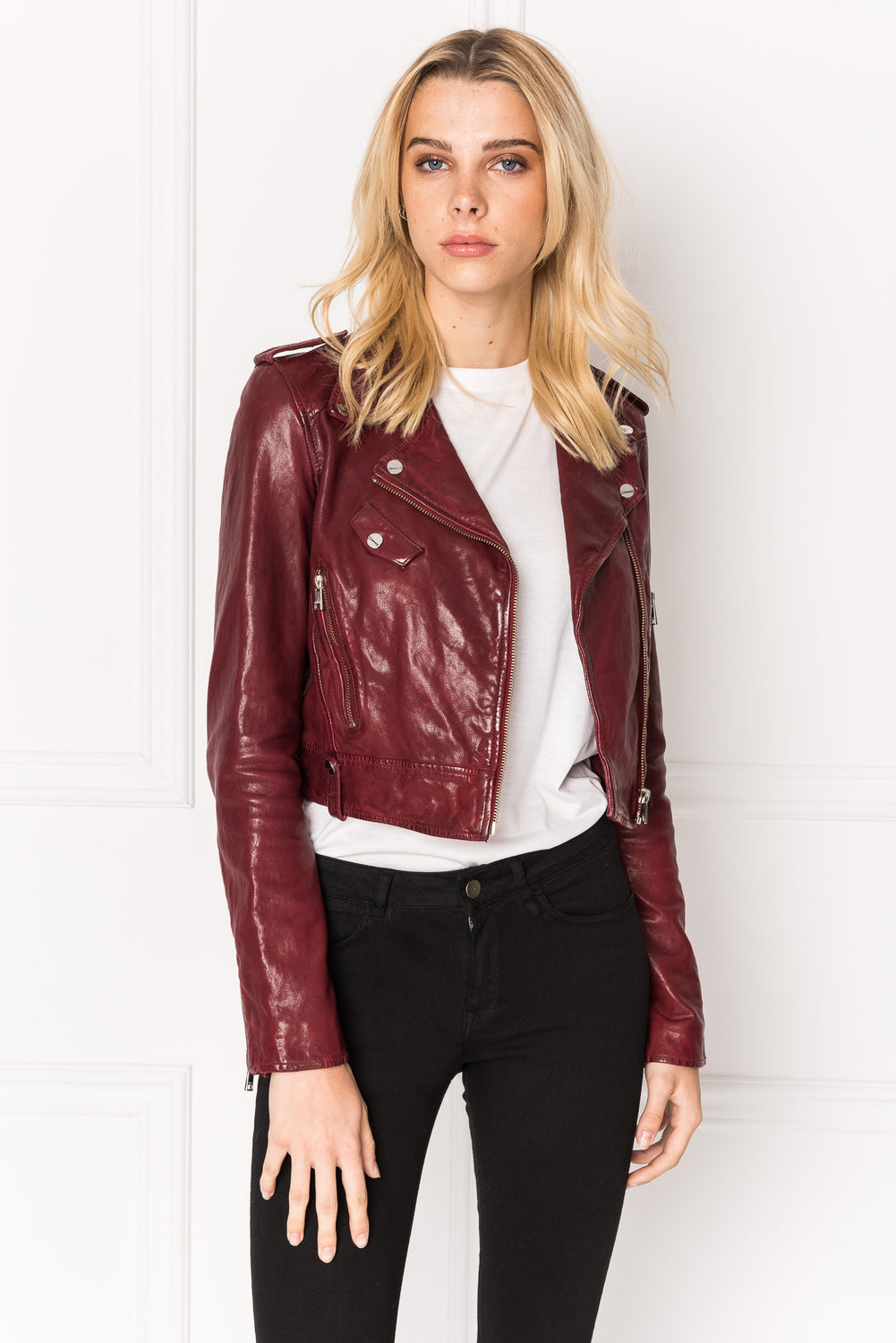 CIARA Burgundy Washed Leather Crop Biker Jacket