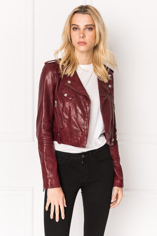 CIARA Porto Washed Leather Crop Biker Jacket | CIARA veste courte de cuir porto