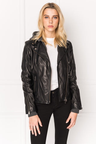 JAMIE Black Leather Biker Jacket With Removable Hood