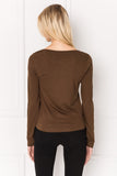 SORA Brown Tie Front Long Sleeve Tee