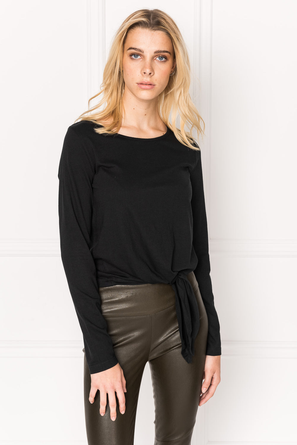 SORA Black Tie Front Long Sleeve Tee