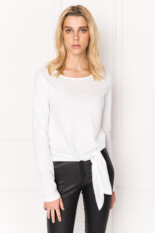 SORA White Tie Front Long Sleeve Tee