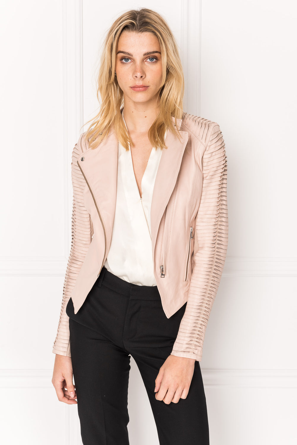PAIGE Pink Stripped Leather Jacket | PAIGE Biker en cuir rayé rose