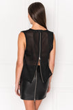 HADA Sleeveless Mesh Top with Back Zip