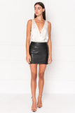 INA Black Leather Zip Up Mini Skirt