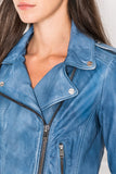 DONNA Faded Denim Leather Biker Jacket