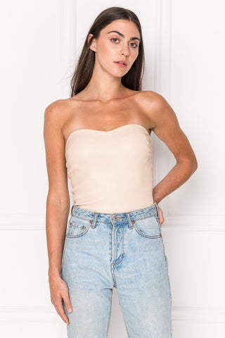 FEBE Light Pink Leather Tube Top