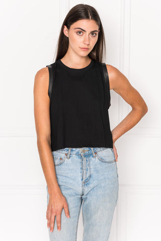e8c69bc2b MIKI Leather Trimmed Crop Tank Top