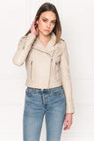 DONNA ECO Sand Leather Biker Jacket