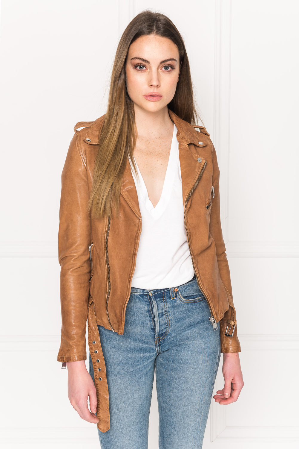 KIYOSHI Tan Washed Leather Belted Biker Jacket