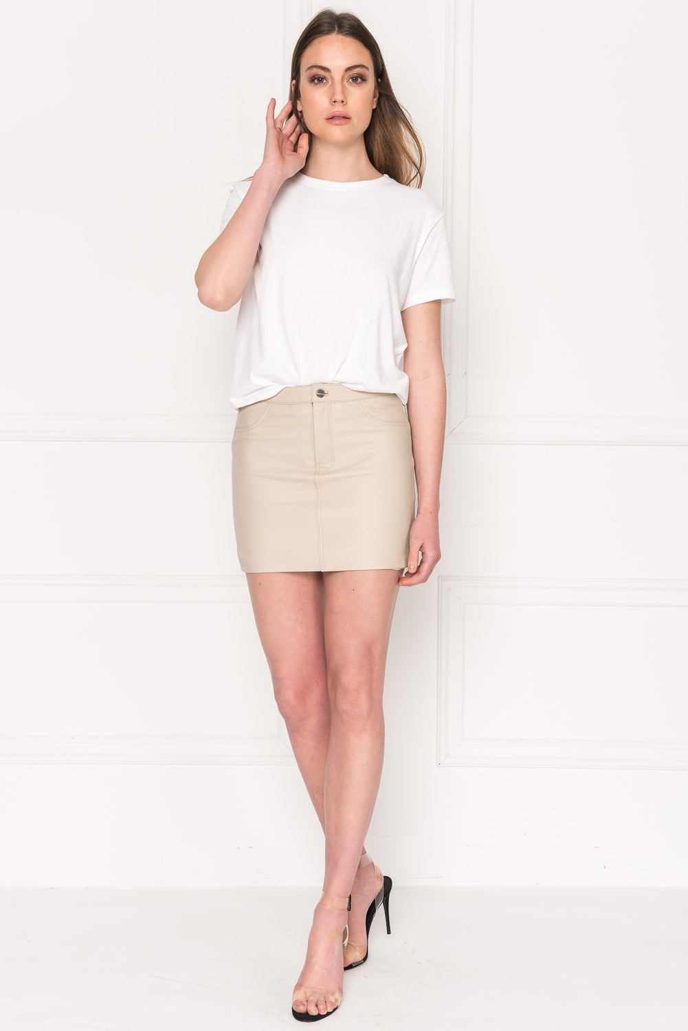 MELORA ECO Sand Leather Jean Mini Skirt