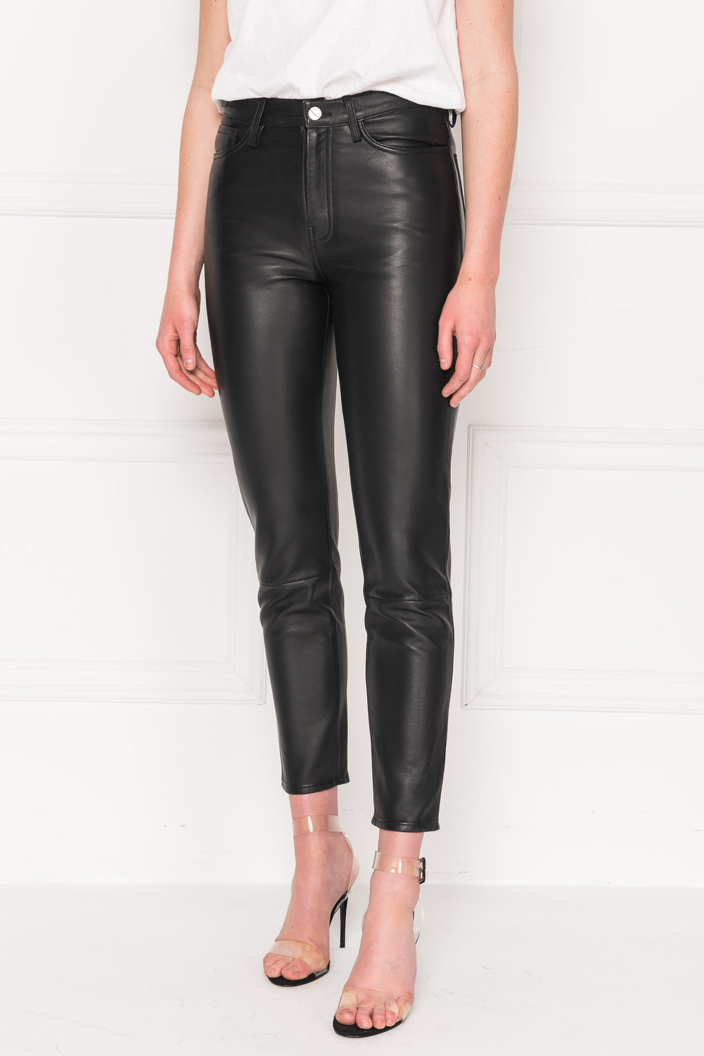 KENNA Black Leather Mom Jeans