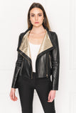 MICHELLE Funnel Neck Leather Biker Jacket