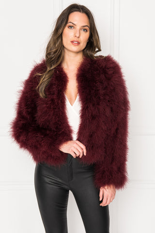 DEORA Burgundy Feather Jacket