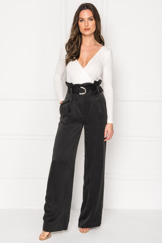 VIKA Black Silk Pants
