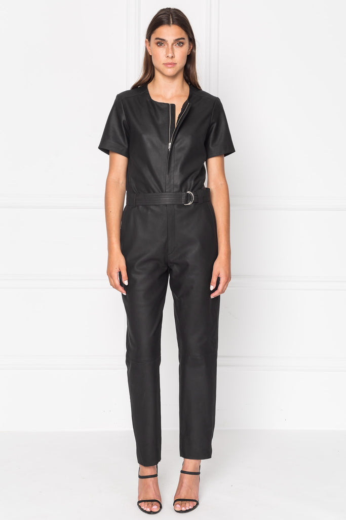 MADRA Leather Belted Jumpsuit