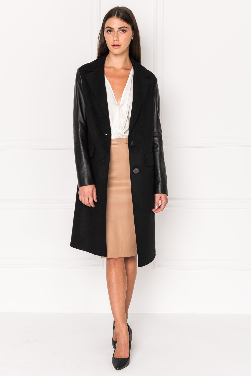 MAERA Black Wool Coat With Leather Sleeves