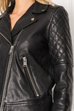 MARILLA Black Quilted Leather Biker Jacket