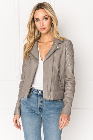 MARILLA Grey Quilted Leather Biker Jacket
