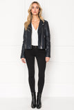 MARILLA Navy Quilted Leather Biker Jacket