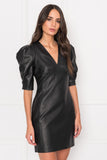 MATILDA Black Leather Puff Sleeve Dress