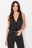 MAY Black V-neck Sleeveless Bodysuit
